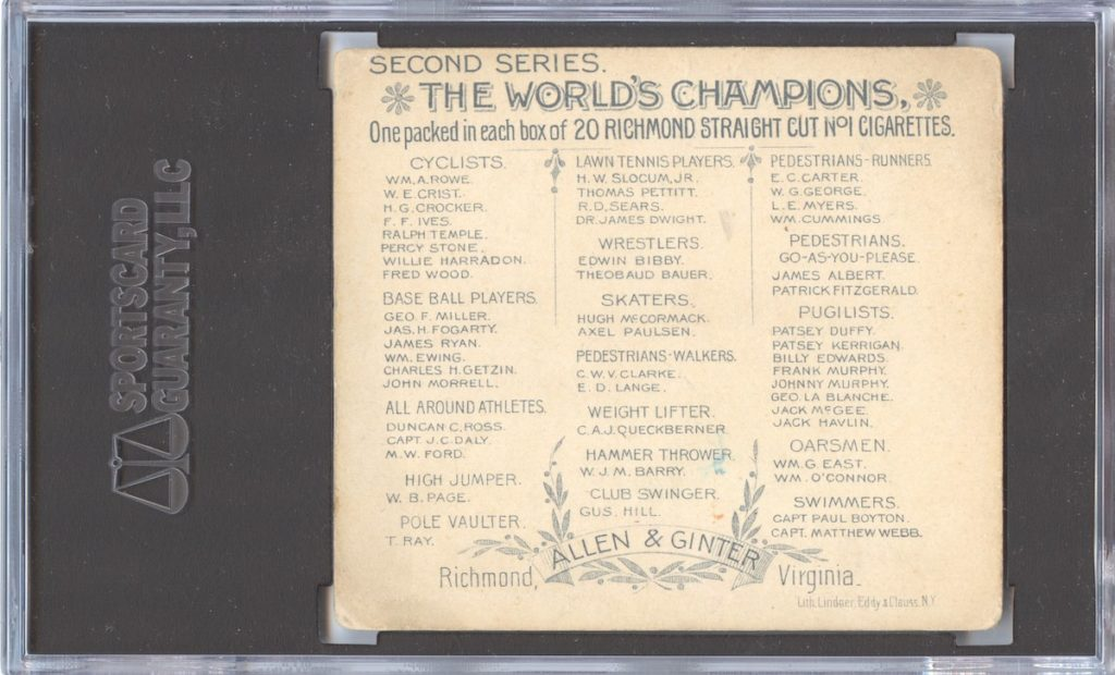 "back of 1888 Allen & Ginter N43 ""Series of Champions"" Jack McGee"
