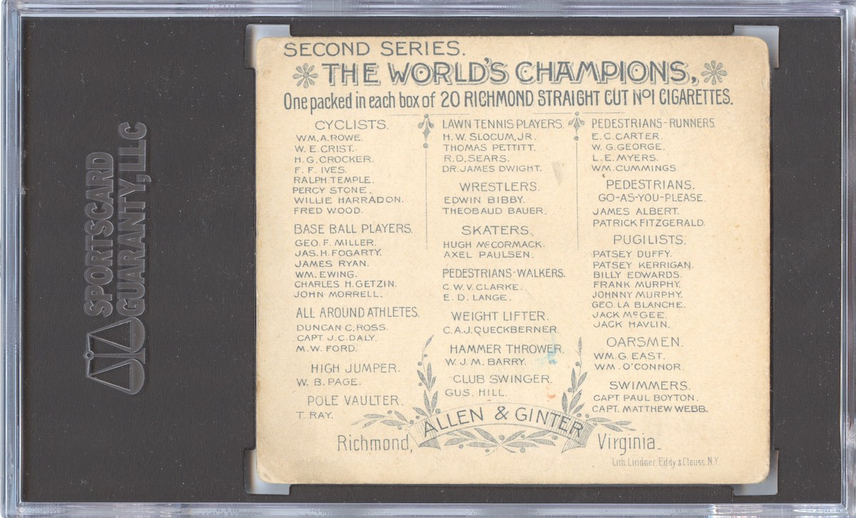 """back of 1888 Allen & Ginter N43 """"Series of Champions"""" Jack McGee"""