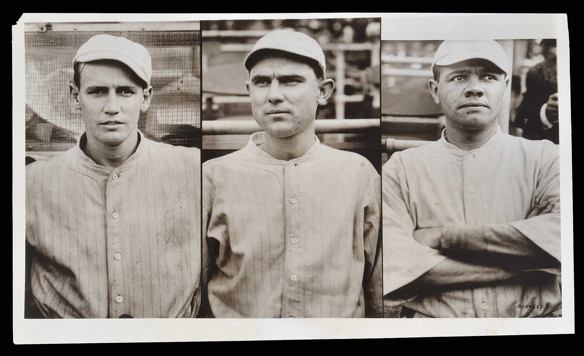 1915 Underwood & Underwood composite photo of Red Sox players Joe Wood, Ernie Shore and Babe Ruth. Taken at Fenway Park.