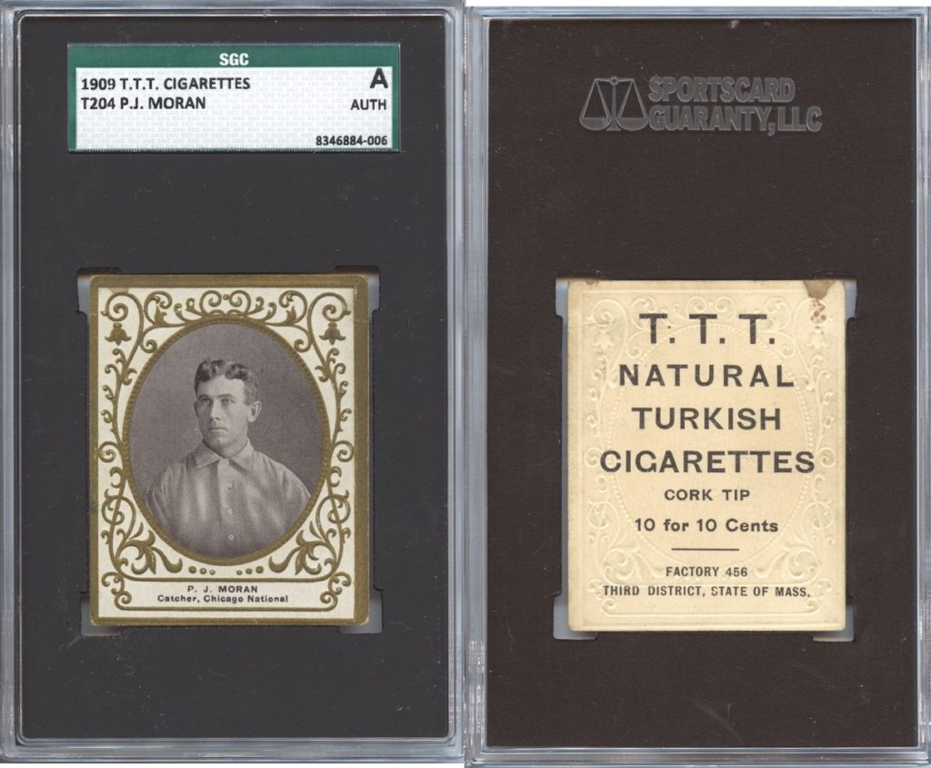 1909 T204 P.J. Moran with T.T.T. Turkish Cigarettes back