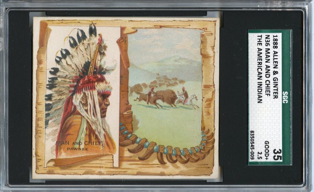 """1888 N36 Allen & Ginter """"American Indians"""" Man and Chief"""