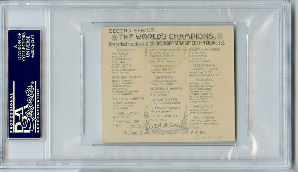 "back of 1888 Allen & Ginter N43 ""Series of Champions"" Billy Edwards"