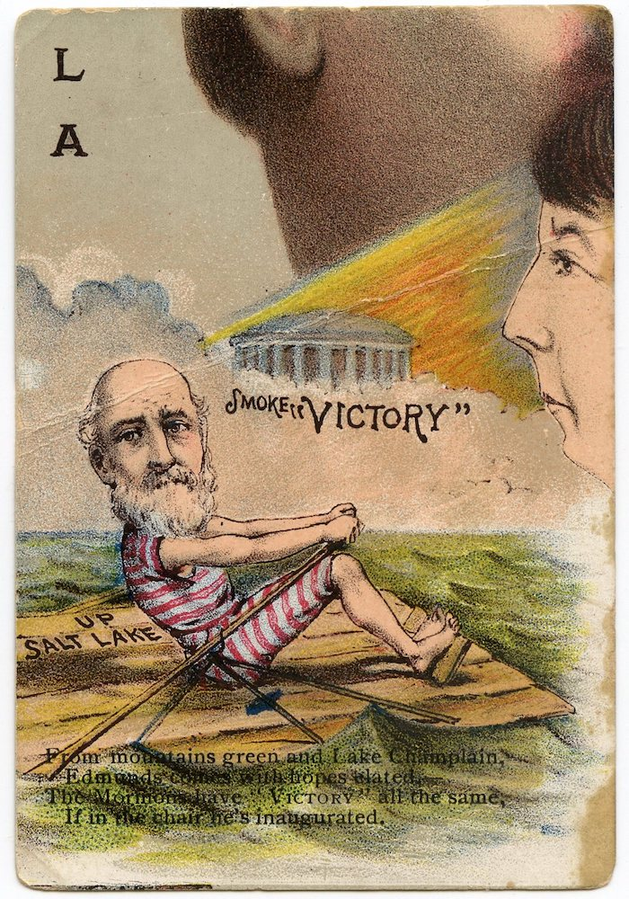 "1888 Buchner Victory Tobacco Presidential Puzzle ""LA"" card with Senator George F. Edmunds from Vermont"