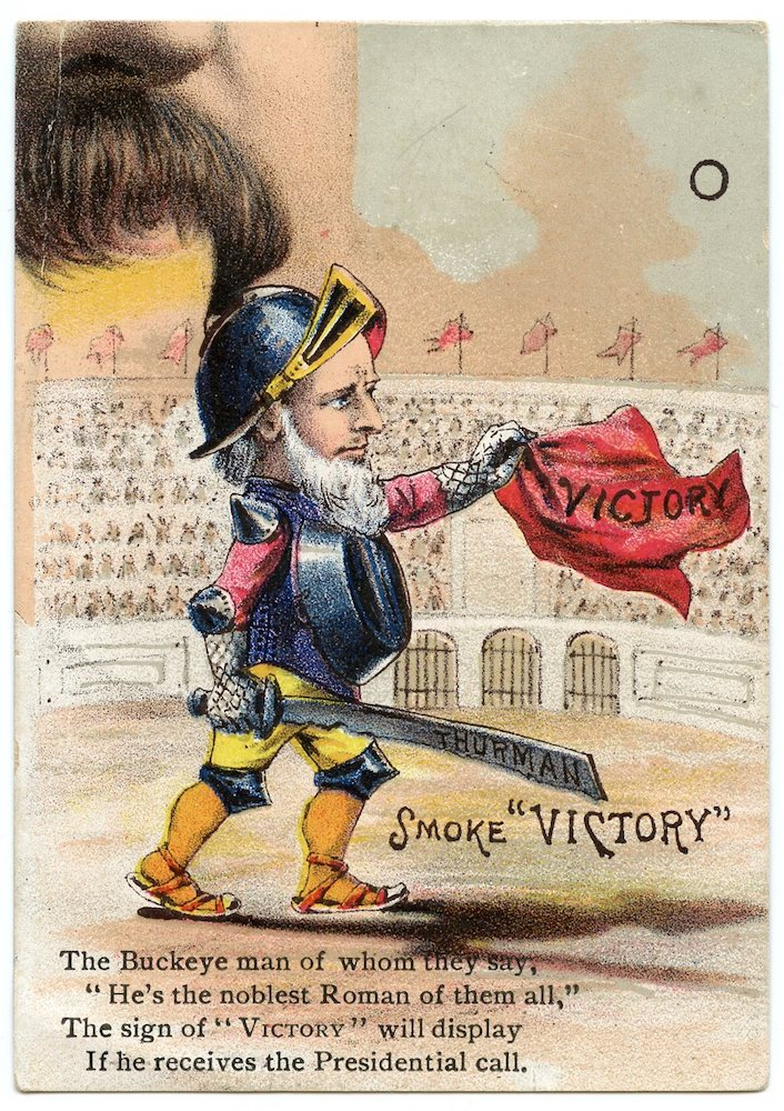 "1888 Buchner Victory Tobacco Presidential Puzzle ""O"" card with Allen G. Thurman, Senator from Ohio"