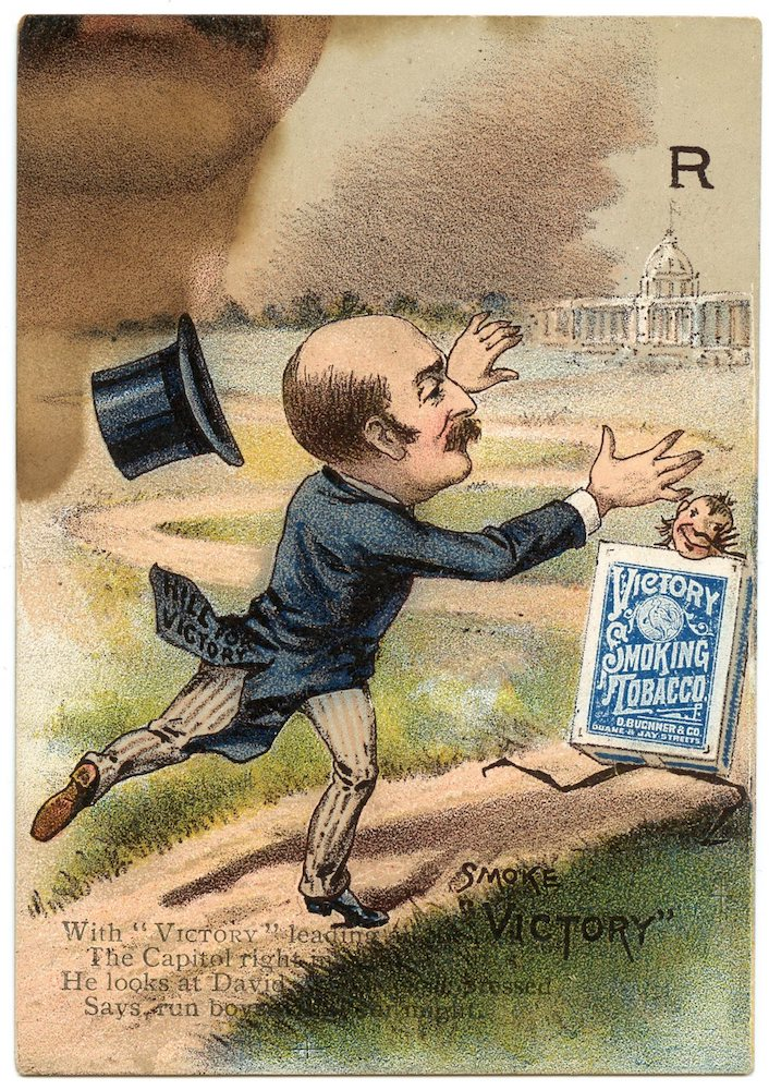 "1888 Buchner Victory Tobacco Presidential Puzzle ""R"" card with David Hill, governor of New York"