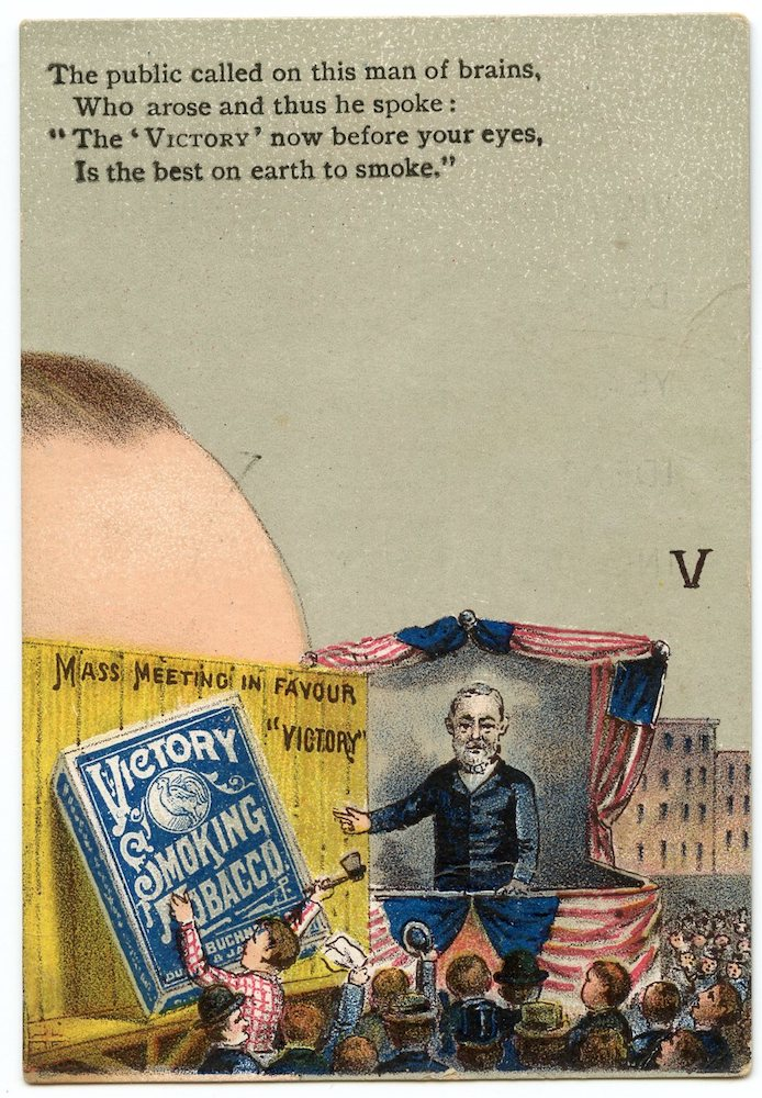 "1888 Buchner Victory Tobacco Presidential Puzzle ""V"" card"