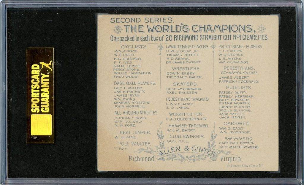 "back of 1888 Allen & Ginter N43 ""Series of Champions"" John Morrell [Morrill]"