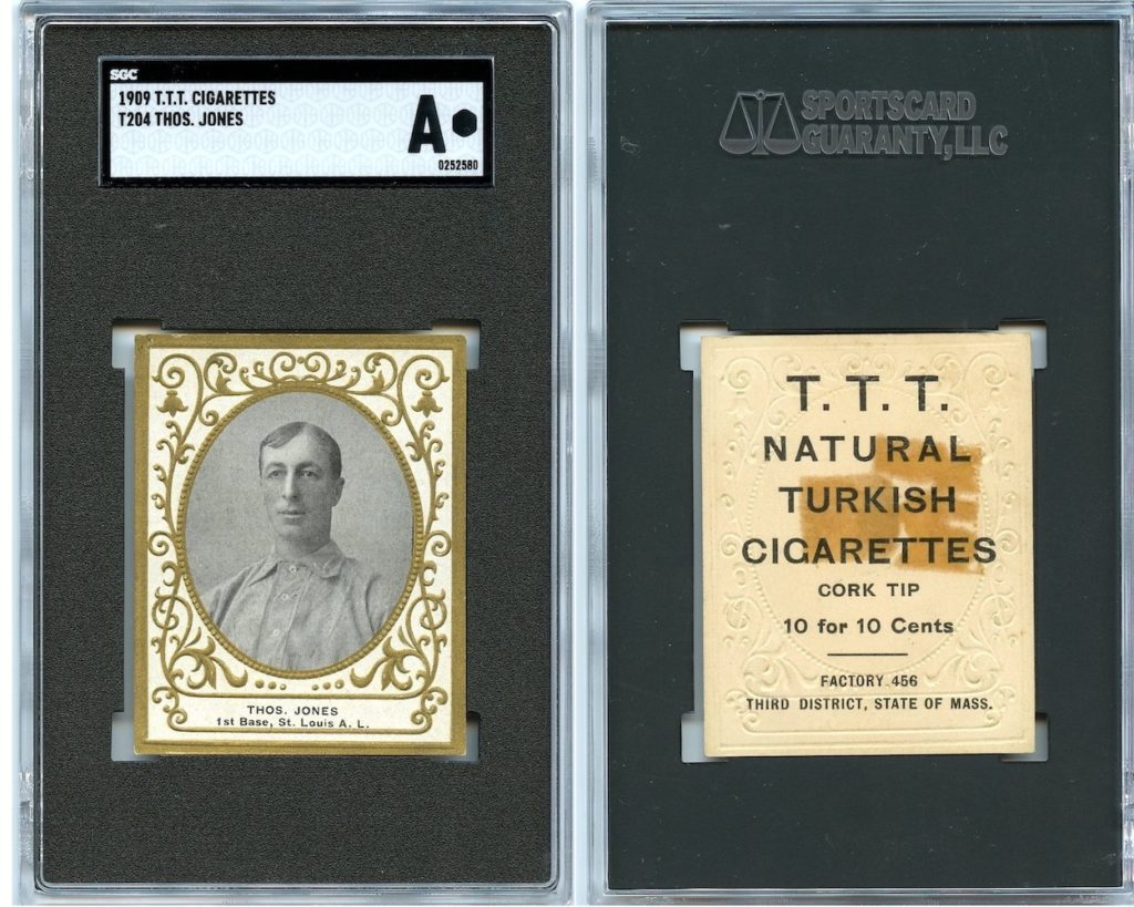 1909 T204 T.T.T. Turkish Cigarettes Tom Jones (front and back)