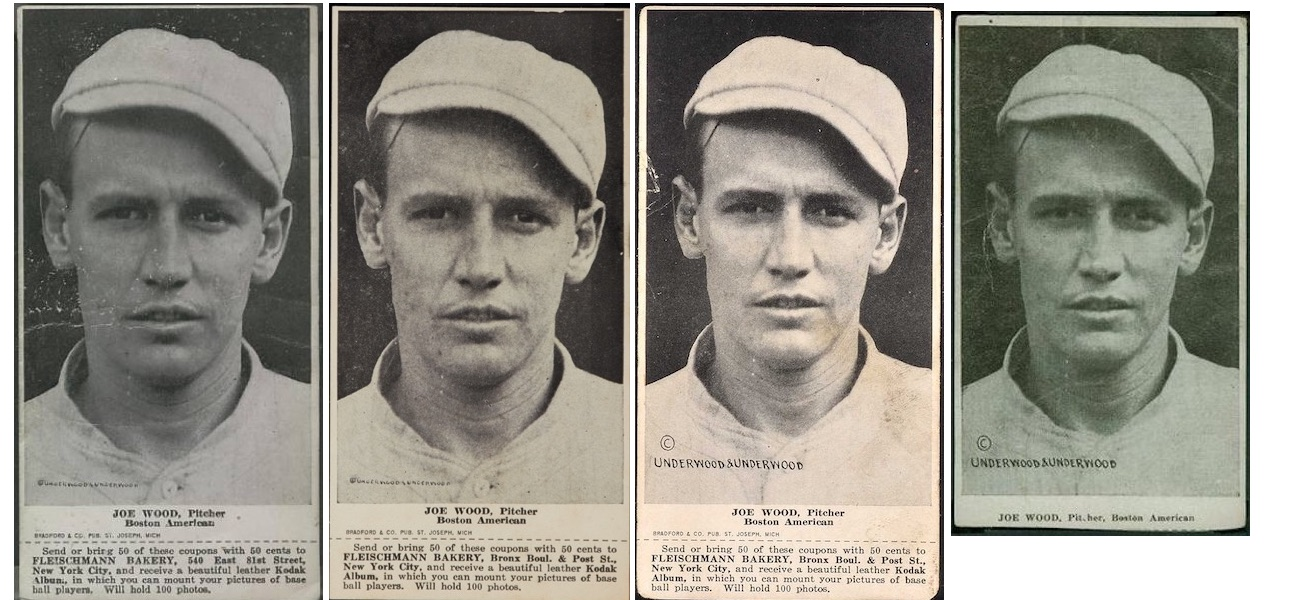 1916 D381 Fleischmann and Ferguson Bakeries Joe Wood - all 4 variations