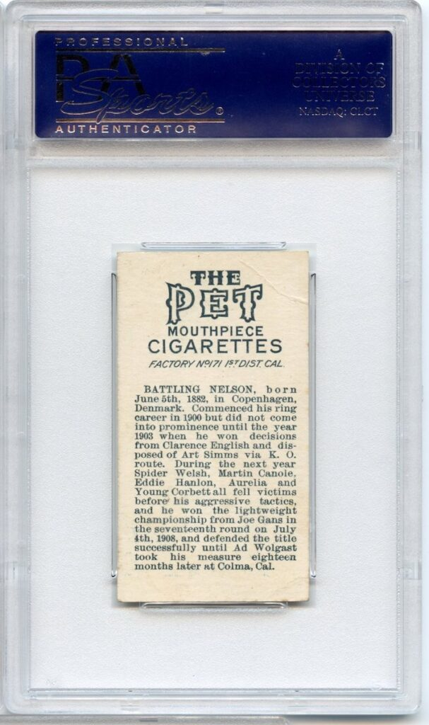 1910 Pet Cigarettes and Kopec Cigarettes T224/T229 Sports Champions Battling Nelson, Boxer (back of card)