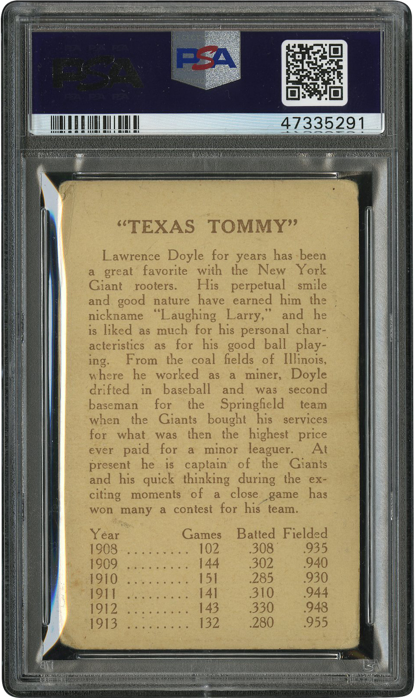 1914 E224 Texas Tommy Larry Doyle (back of card)