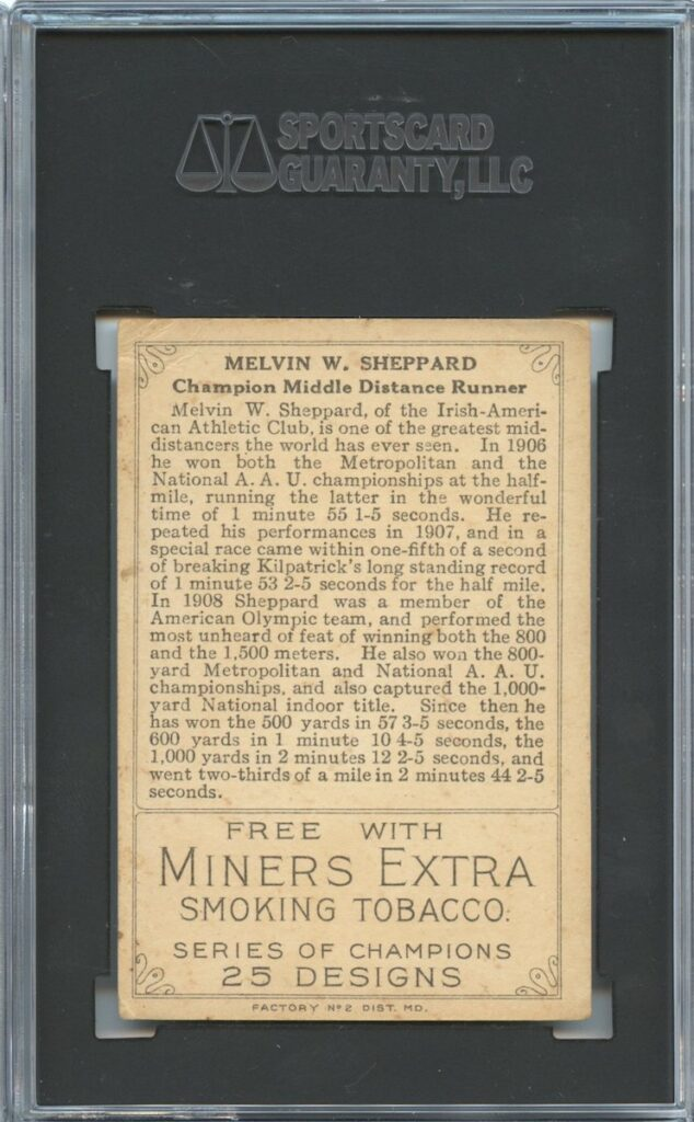 1912 Miner's Extra T227 Melvin W. Sheppard back of card